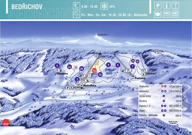 Mapa skiareálu Bedřichov - Malinovka (2011)