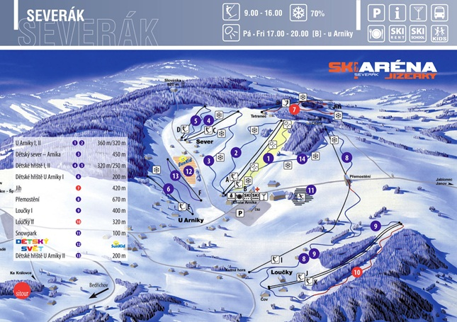 Mapa SKI areálu Severák Hrabětice